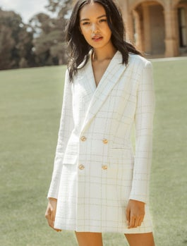Sunny Bouclé Check Dress Jacket by Forever New