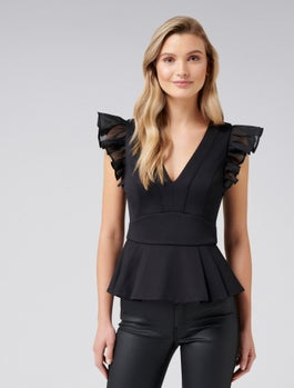 Rosa Ruffle Peplum Top by Forever New