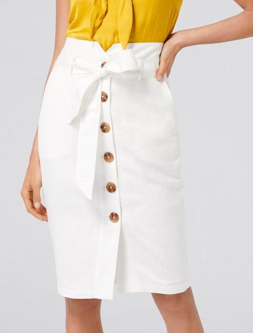 Elsa Linen Blend Pencil Skirt