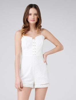 Corrie Embroidery Corset Playsuit by Forever New