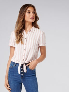 Annie Short Sleeve Tie Front Shirt by Forever New