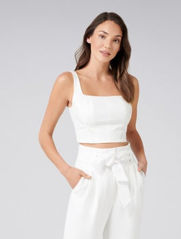 Carly Square Neck Fitted Crop Top by Forever New