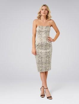 Ellis Snake Jacquard Dress by Forever New