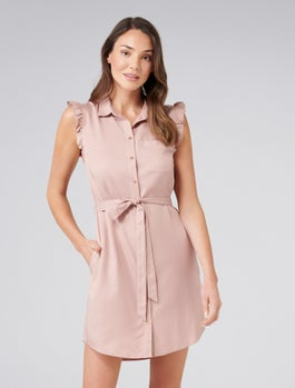 Zahrah Frill Sleeve Shirt Dress by Forever New