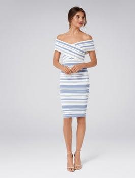 Maisie Stripe Bardot Dress by Forever New