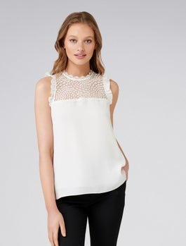 Delta Lace Spliced Essential Tank by Forever New