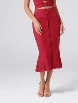 Naomi Co Ord Button Front Linen Blend Skirt by Forever New