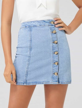 Regina Button Front Denim Skirt by Forever New