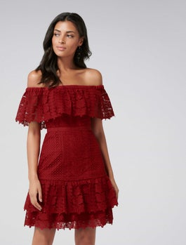 Ruby Off Shoulder Lace Dress by Forever New