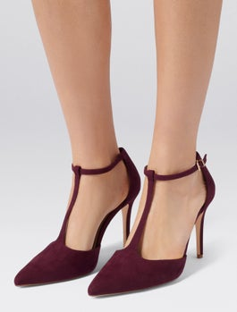 Alyssa T Bar Pointed Court Heels by Forever New