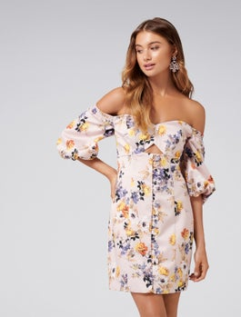 Macey Puff Sleeve Strapless Dress by Forever New