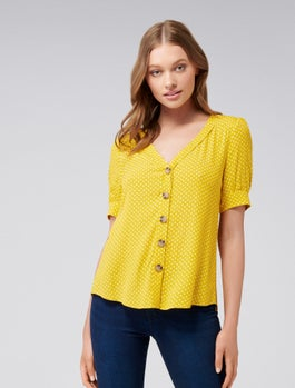 Cora Button Spot Puff Sleeve Top by Forever New