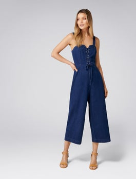 Abigail Lace Up Denim Jumpsuit by Forever New
