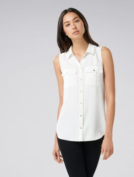 Macie Button Pocket Collar Essential Top by Forever New