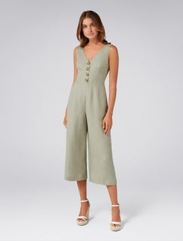 Clare Petite Button Front Jumpsuit by Forever New