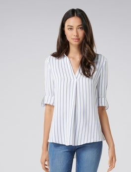 Amber Stripe Tuck Front Blouse by Forever New