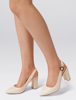 Tia Slingback Block Court Heels by Forever New