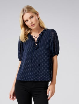 Joelle Lace Up Front Blouse by Forever New