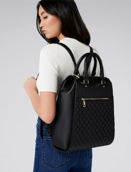 Bianca Quilted Laptop Backpack by Forever New