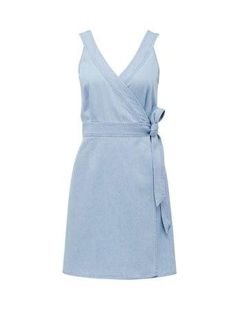 Aria Wrap Denim Mini Dress