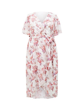 Felicite Curve Flutter Sleeve Midi Dress