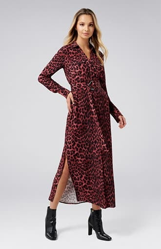 <b>Clover</b><br />Animal Print Shirt Dress