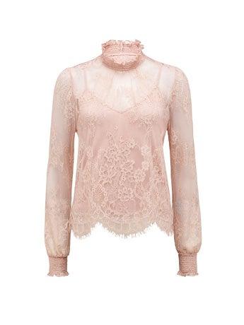 Azura Lace Shirred Neck Top