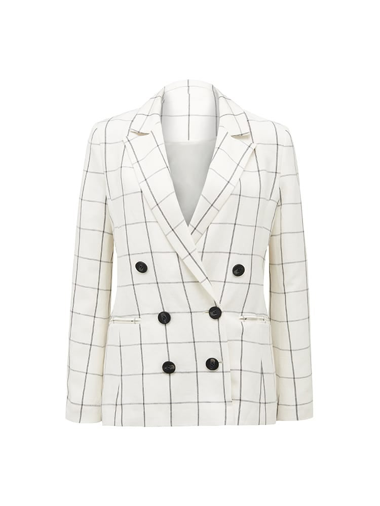 Hartz Co-ord Linen Windowpane Blazer