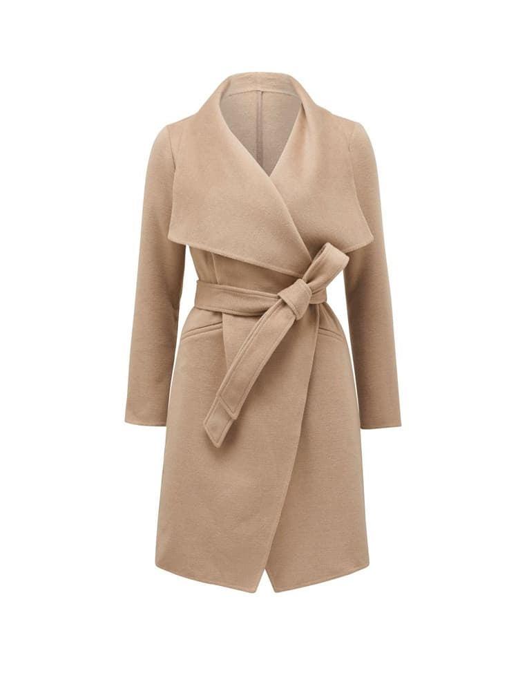 Megan felled seam wrap coat