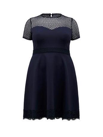 Daria Curve Lace-Trim Ponte Dress
