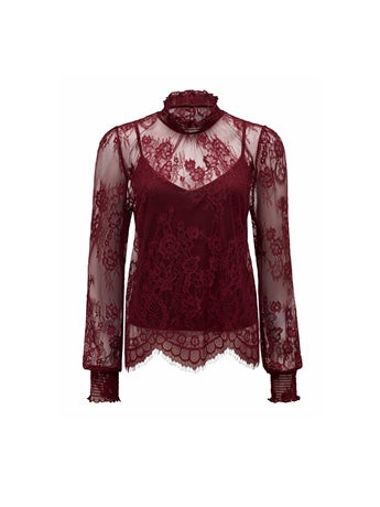 Azura Lace Shirred Neck Top