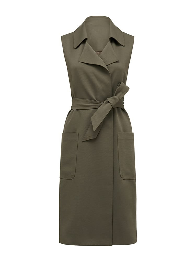 Olivia Patch Sleeveless Trench Coat