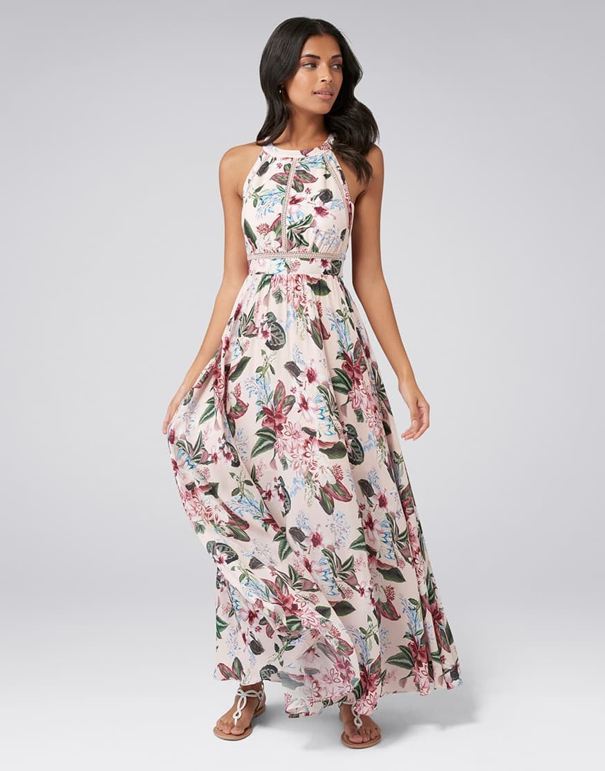 Ava Lace Trim Maxi Dress