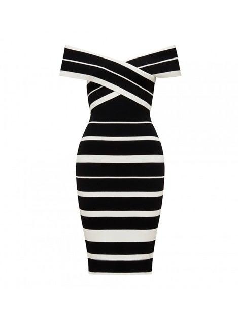 Kathleen Stripe Bardot Dress