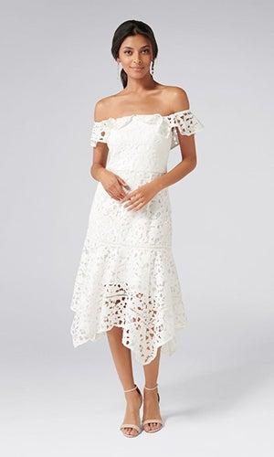 <b>Kristy</b><br>Bardot Hanky Hem Dress