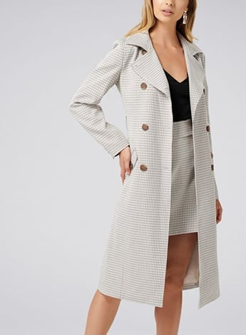 Olivia Microcheck Trench Coat