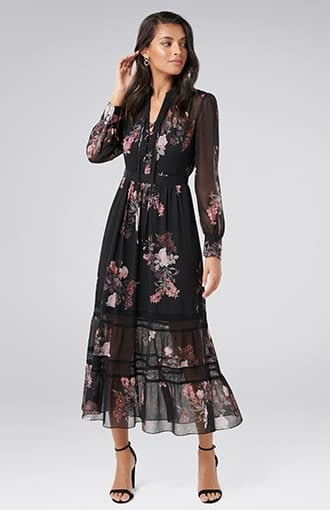 <b>Pipa</b><br />Lace Insert Maxi Dress