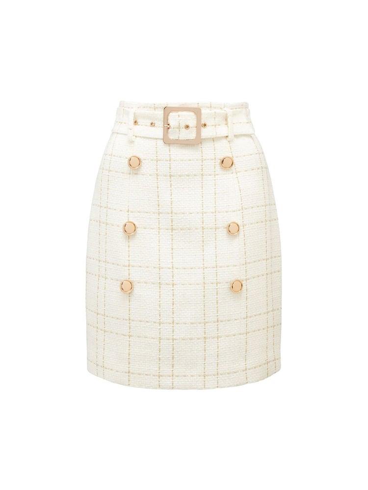 Sunny Bouclé Belted Skirt