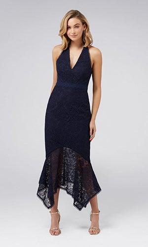 <b>Tomeeka</b><br>Halterneck Lace Midi Dress