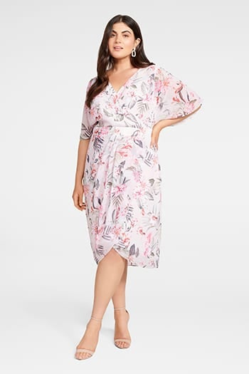 <b>Tori</b><br>Sleeved Wrap Over<br>Curve Dress