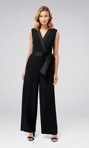 <b>Viola</b><br>Sleeveless Tuxedo Bow Jumpsuit