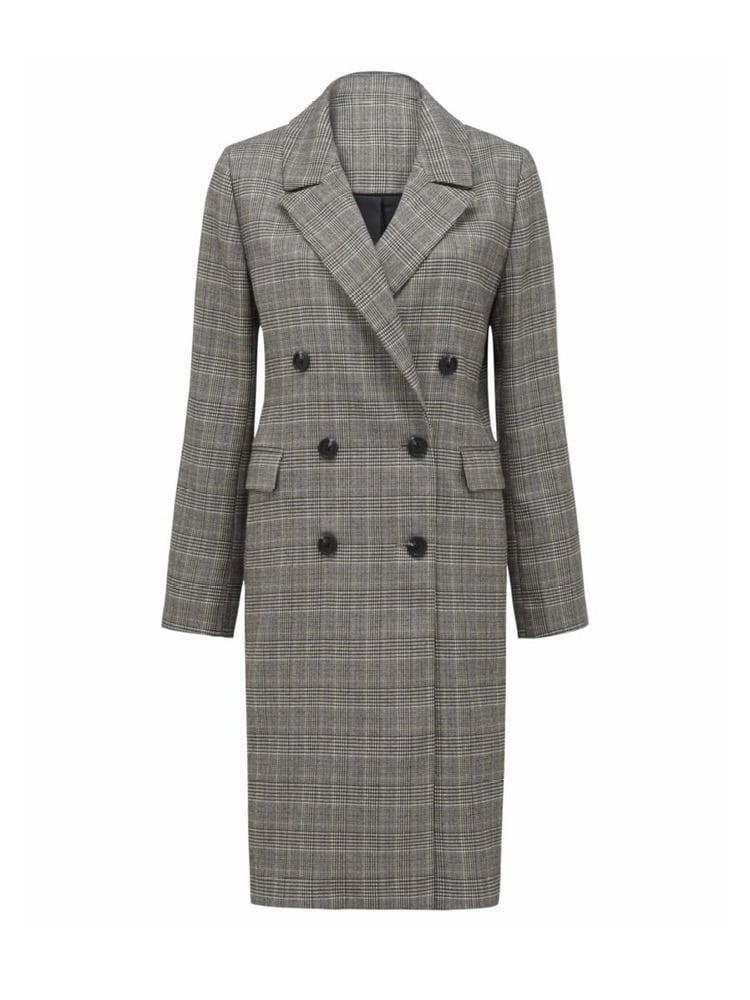 Selma Check Crombie Coat