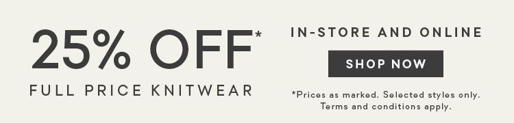 25% Off Knitwear