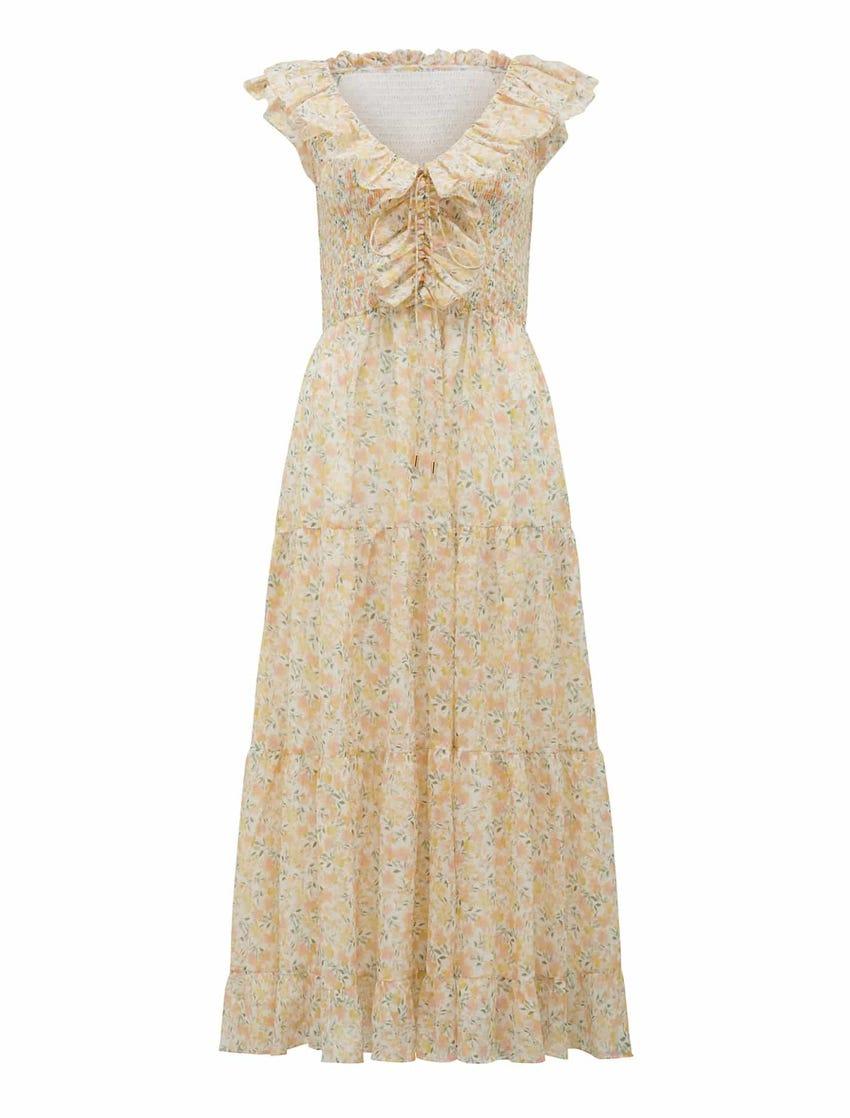 Lidia Shirred Bodice Midi Dress