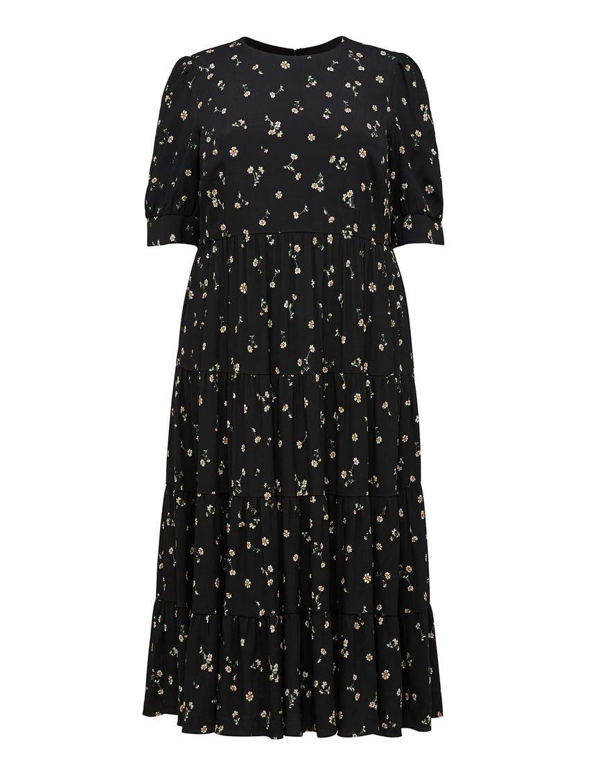 Betty Curve Tiered Smock Midi Dress