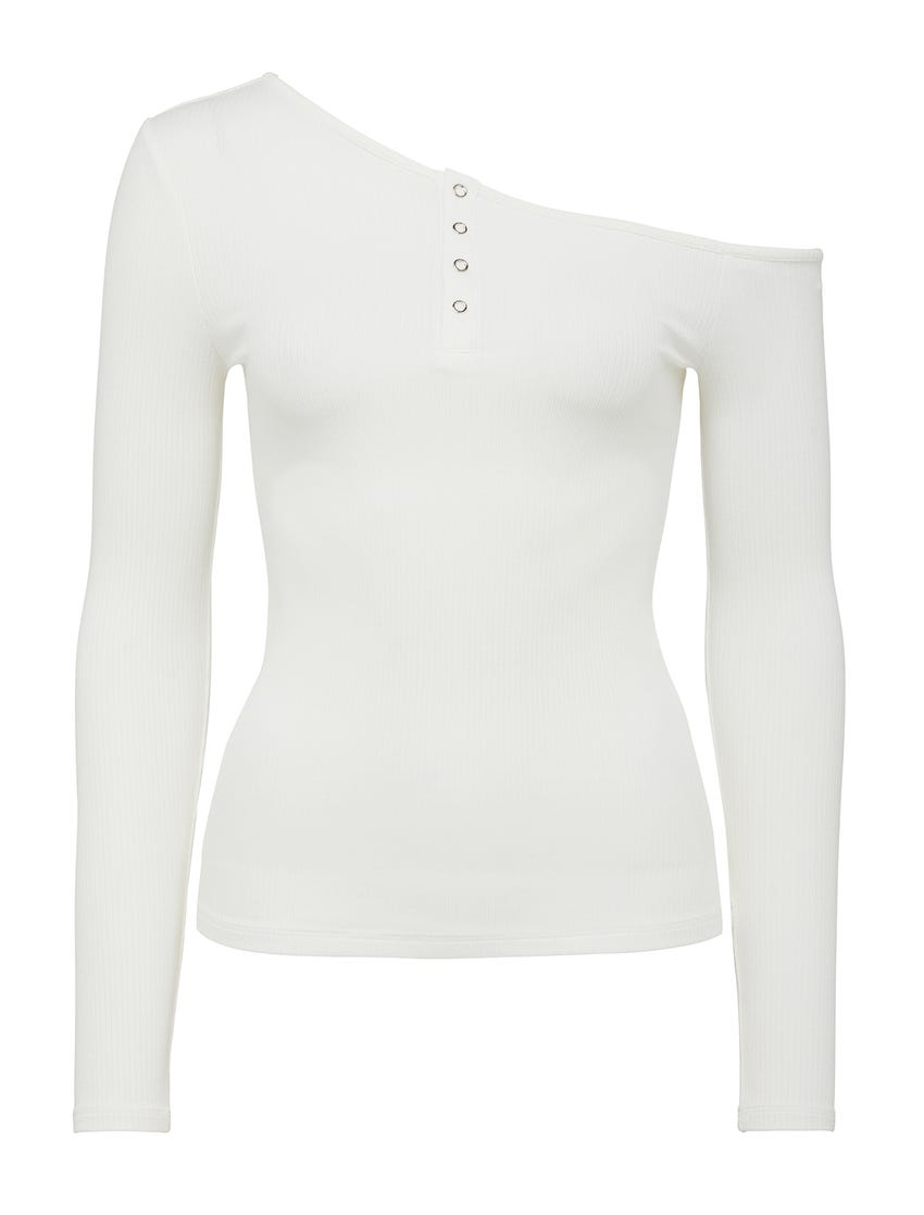 Ellie Tipped-Shoulder Henley Top