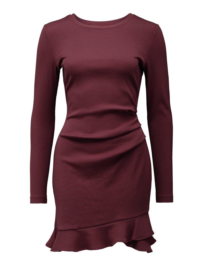 Anne Rib Long-Sleeve Frill Dress