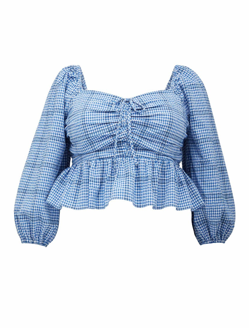 Indiana Curve Check Drop Blouse