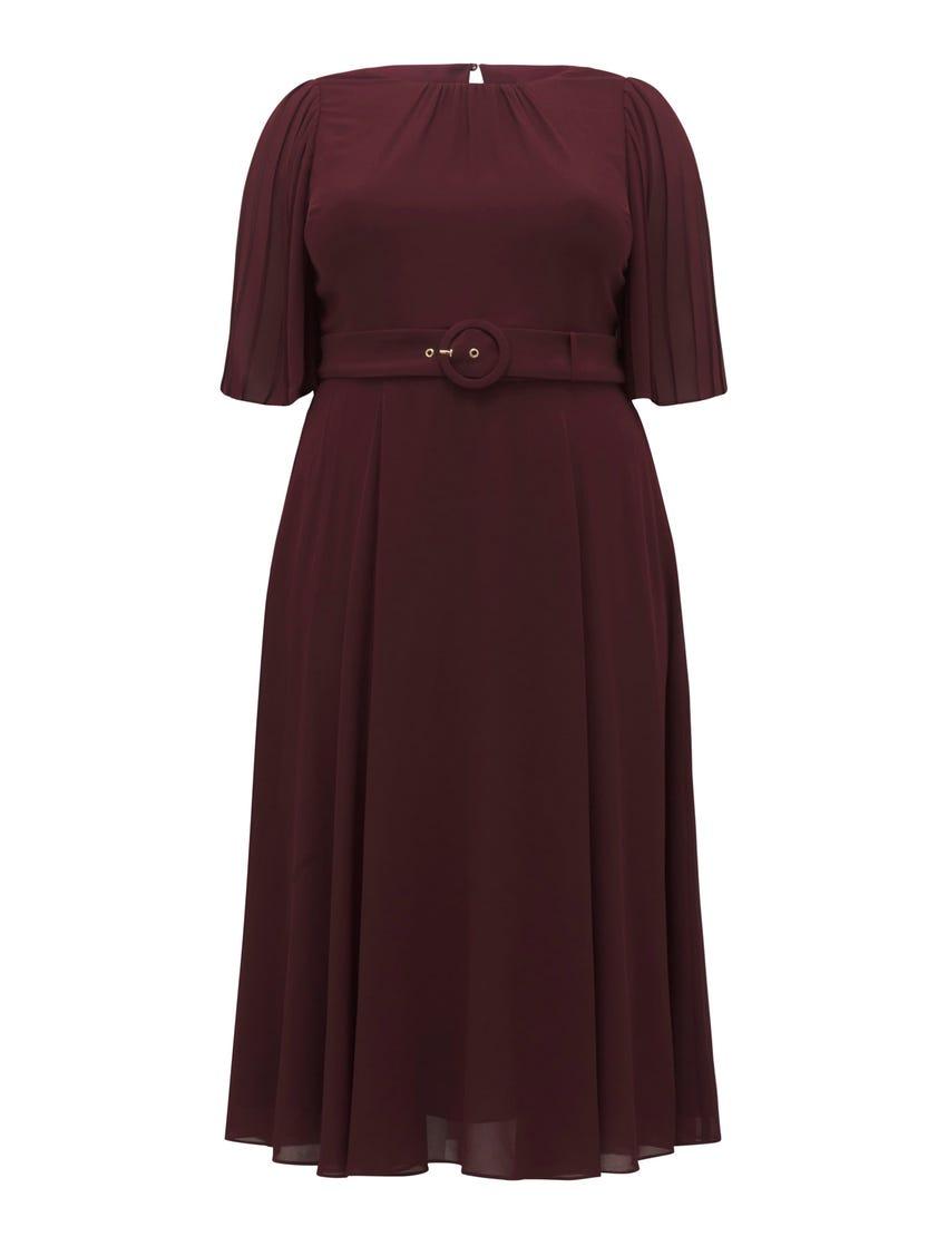 Sally Curve Pleat Sleeve Midi Dress
