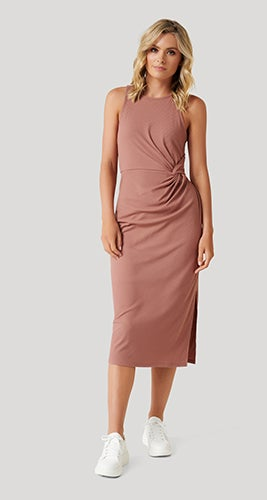Nicola Racer-Back Jersey Midi Dress